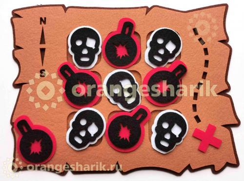 Крестики-нолики - Пиратская карта,нарезка
