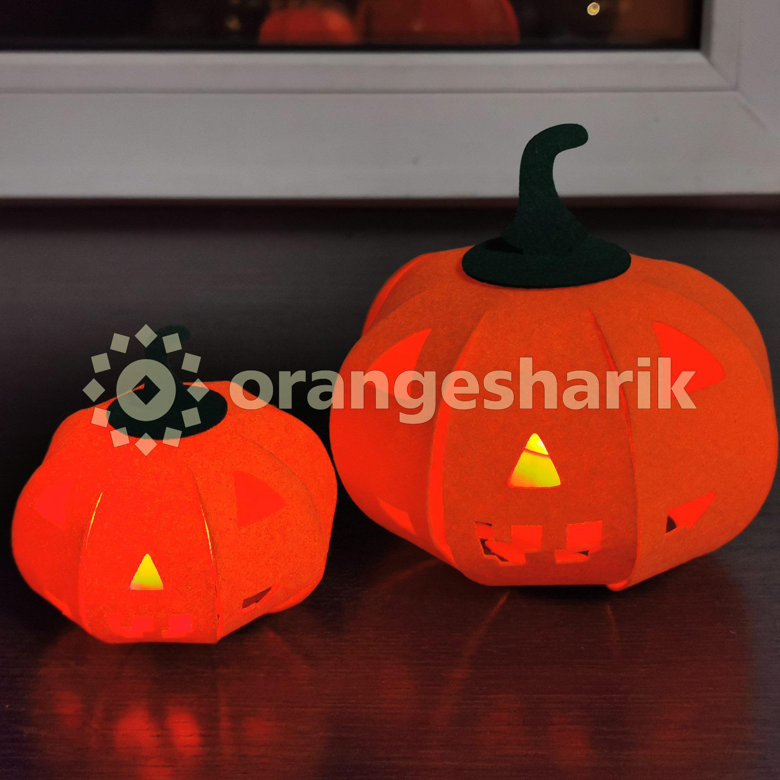 Украшение на Хеллоуин Тыквы из фетра, пара