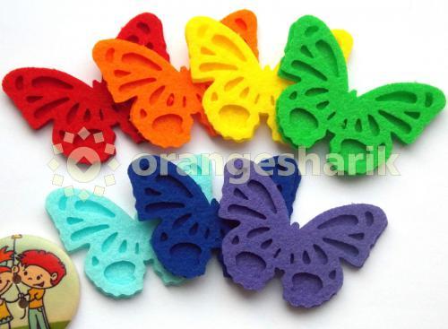 Бабочки из фетра - Радужные, комплект