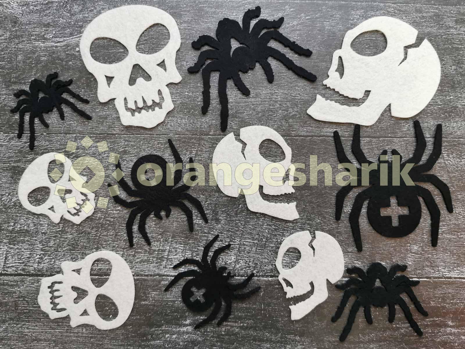 Праздничный декор из фетра Halloween черепа и пауки (12шт)