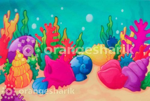 Печать на велкро Морское дно (ракушки)
