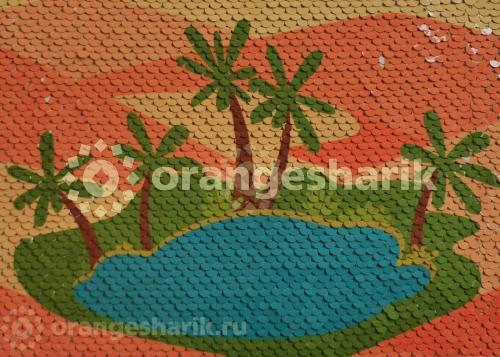 Печать на ткани с пайетками Оазис, 20*15см
