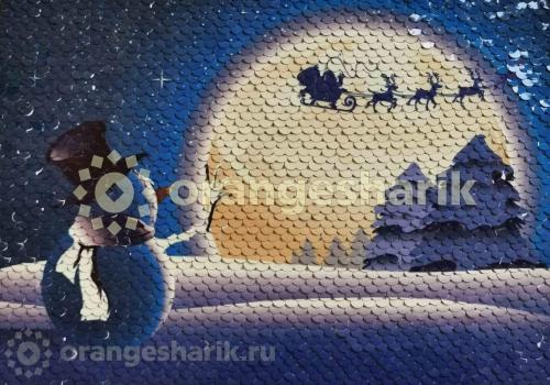 Печать на ткани с пайетками Снеговик, 20*15см